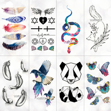 Watercolor feather Temporary Tattoo Sticker Women Geometric Panda pattern Body Art New Design Fake Men Tattoos