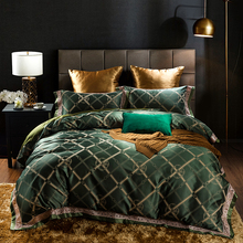 Luxury Jacquard Blue Pink Purple Silver Green Plaid Bedding Set Queen King Size High Quality Satin Duvet Covers Cotton Bed Sheet