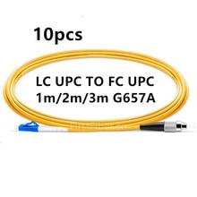 1 m 2 m 3 m 10 sztuk/worek LC PC do FC PC LC UPC do FC UPC G657A z włókna kabel krosowy, sweter, Patch Cord Simplex 2.0mm pcv SM