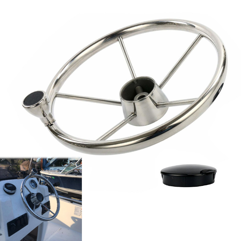13-1/2'' Boat Steering Wheel Stainless 5 Spoke With Knob For Marine Boat Yacht Accessories Silver Yacht Steering Wheels
