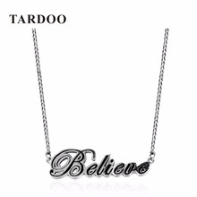 TARDOO Genuine 925 sterling silver choker pendants necklaces for Women Trendy Casusl Letter Necklace Fine jewelry