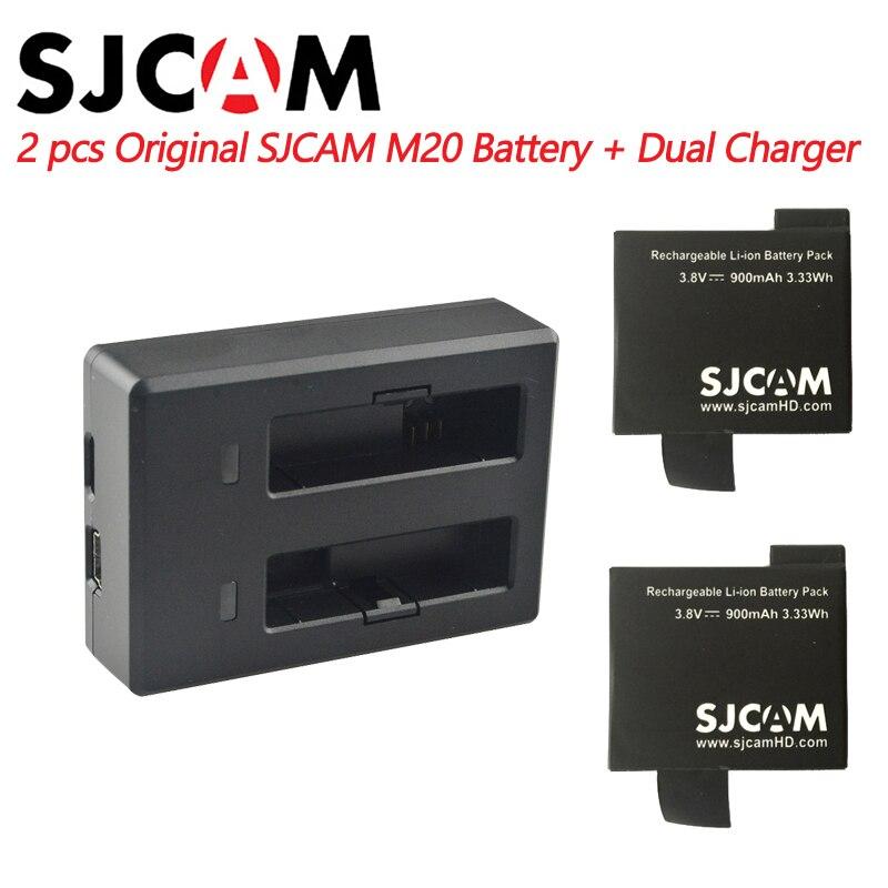 2 piezas SJCAM M20 baterías + cargador de batería Dual para SJ CAM M20 deportes acción accesorios de cámara Original SJCAM marca batería