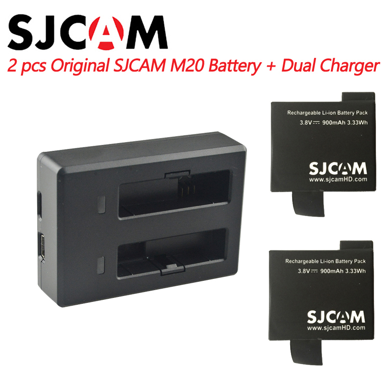 2PCS SJCAM M20 Batteries + Dual battery Charger For SJ CAM M20 sports Action Camera Accessories Original SJCAM brand battery
