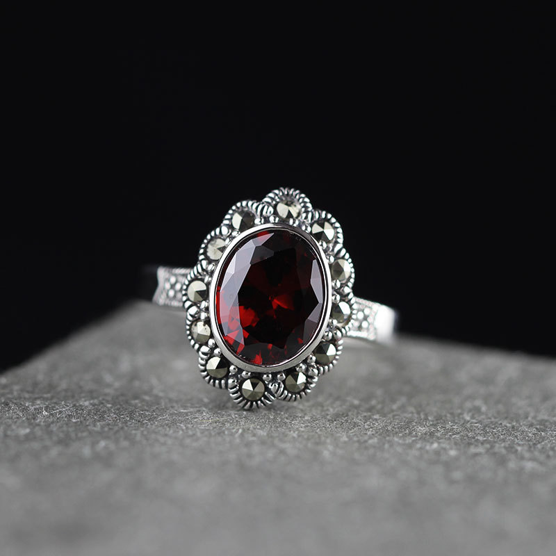 Guaranteed Ring 925 Sterling Designer Jewelry Luxury Wedding Rings For Women Red Garnet Natural Stone Beautiful Fine JewelryGuaranteed Ring 925 Sterling Designer Jewelry Luxury Wedding Rings For Women Red Garnet Natural Stone Beautiful Fine Jewelry
