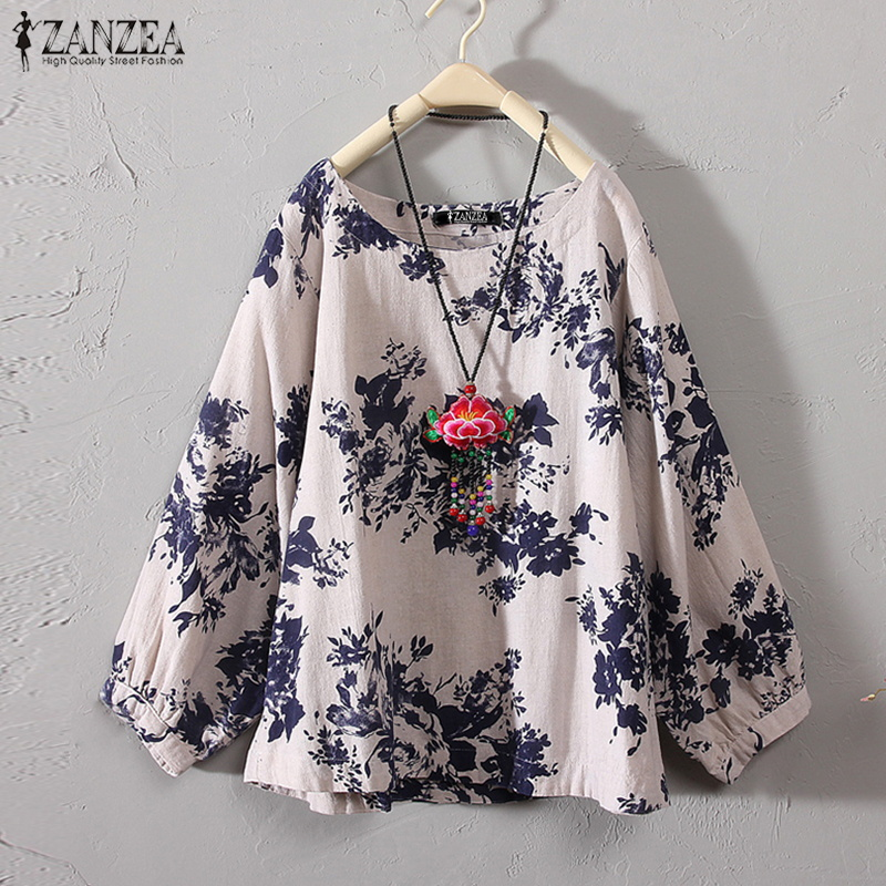 ZANZEA 2020 Autumn Women Casual Long Sleeve Vintage Floral Printed Blouse Loose Retro Shirt Cotton Linen Top Party Work Blusas