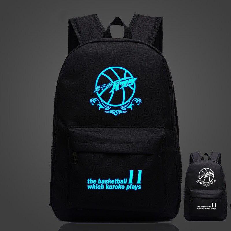 "Japanese Anime ""Kuroko's Basket ball"" Luminous Printing Backpack Teenagers Student School Bag Travel Rucksack"