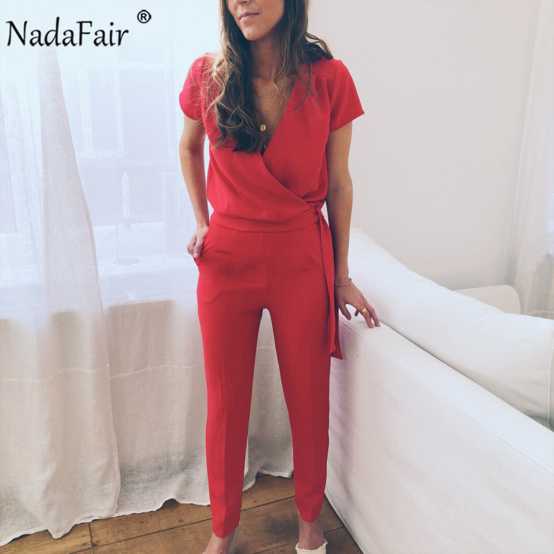 Nadafair Short Sleeve Elegant Summer Sexy   Jumpsuits   Women Red V Neck Lace Up Casual Rompers Womens   Jumpsuit   Plus Size 2019