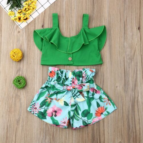 Emmababy Brand Toddler Baby Girls Floral Vest Falbala Sleeveless Off Shoulder Crop Tops Floral Printed Shorts Outfits Clothes 6