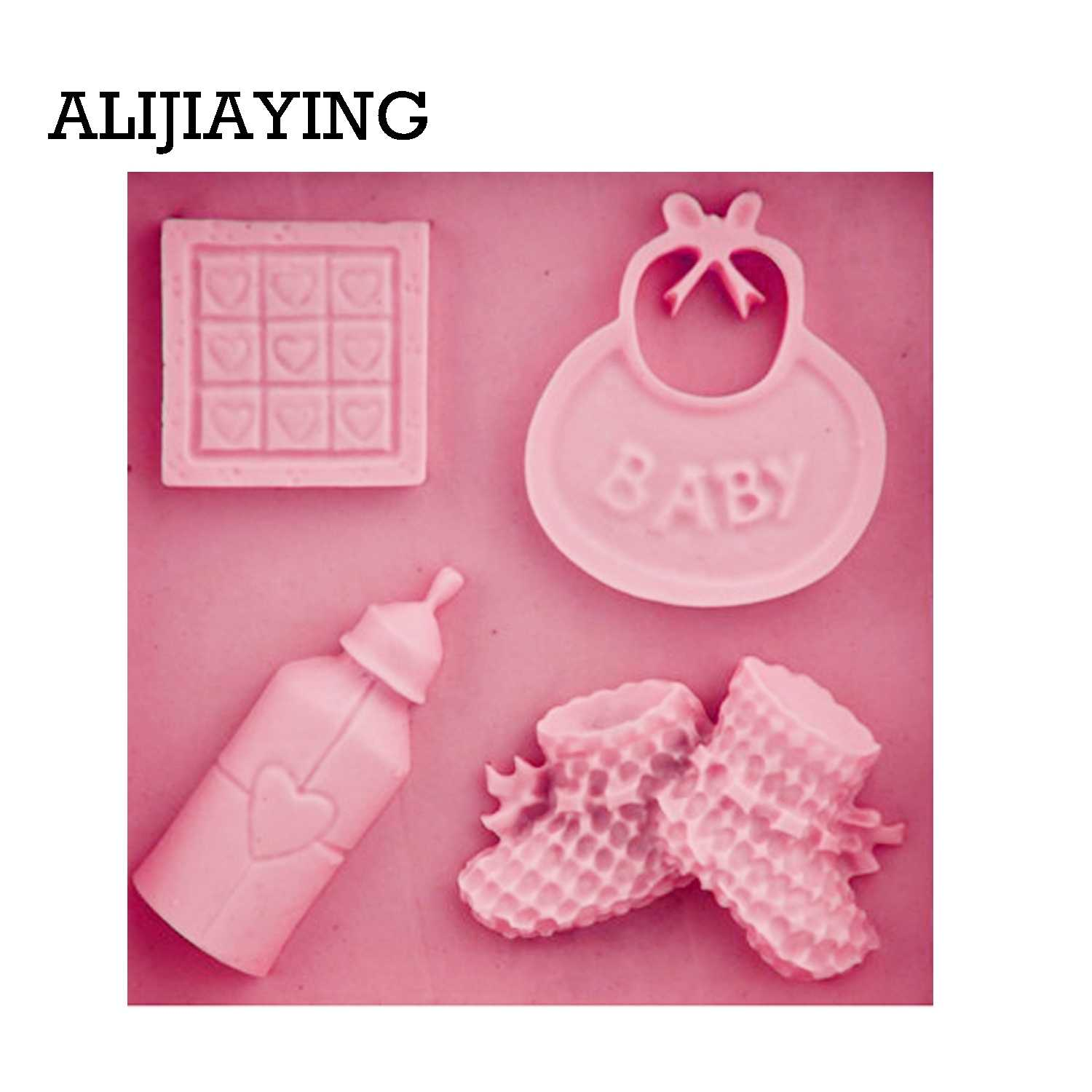 92a1f395c6 ... M0254 1Pcs Baby shoes Silicone mold Fondant Mould saliva bottle  Chocolate Molds DIY cake border Decorating ...