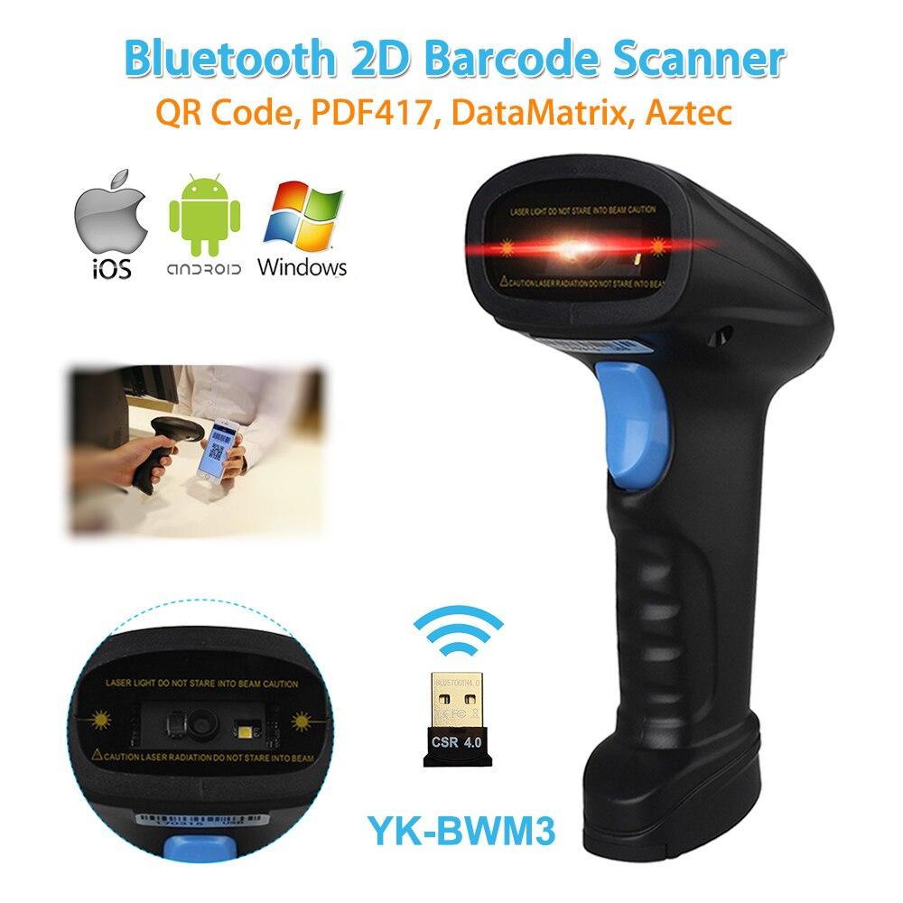 YK-BWM3 Wireless 2D Bluetooth Barcode Scanner USB 4mil QR Code Reader POS Android IOS di Windows Schermo Pagamento 2D Scanner