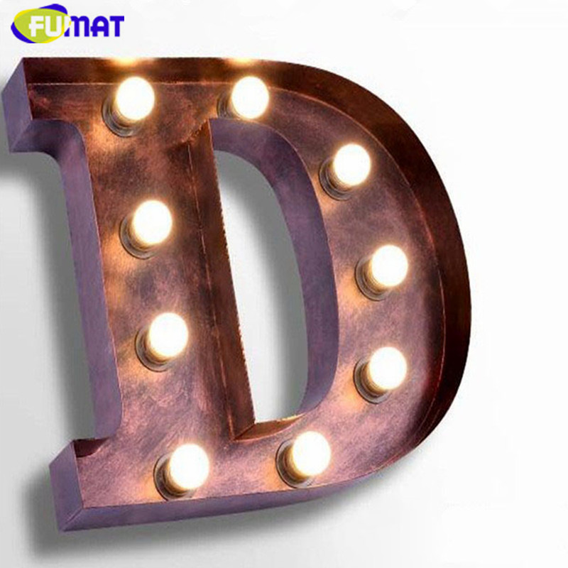 FUMAT Art Deco Wall Sconces Metal Letters D Wall Lamps Vintage Iron Wall Lights Living Room Study Clothing Store Signboard