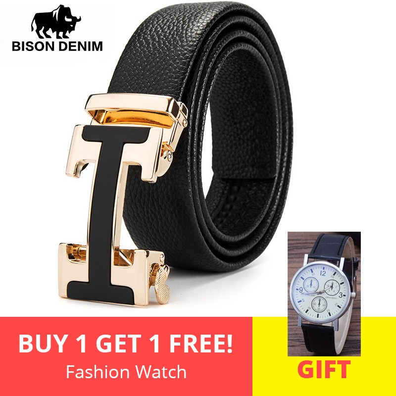BISON DENIM Male   Belt   New Designer Men's   Belts   Luxury Man Fashion   Belt   Luxury Brand for Men High Quality Automatic Buckle N71428