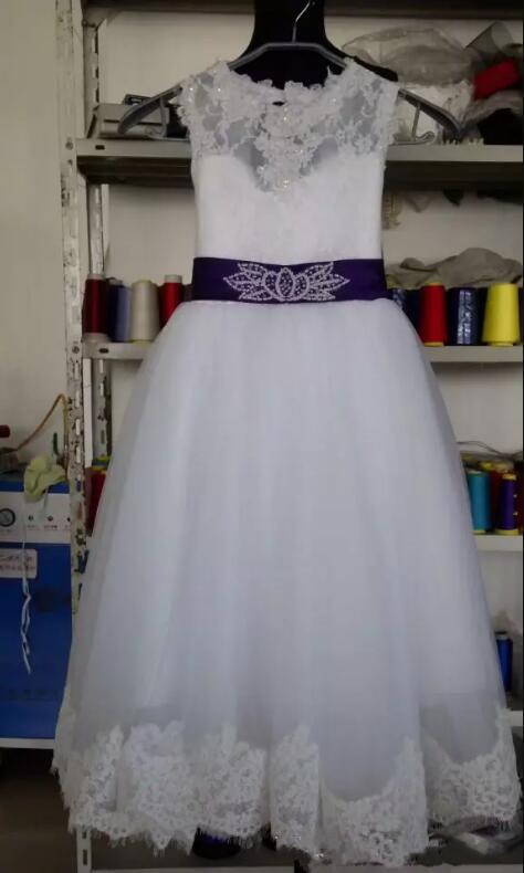 100% Real Pictures White Lace Flower Girls Dresses for Wedding Girls First Communion Dress Size 2-16