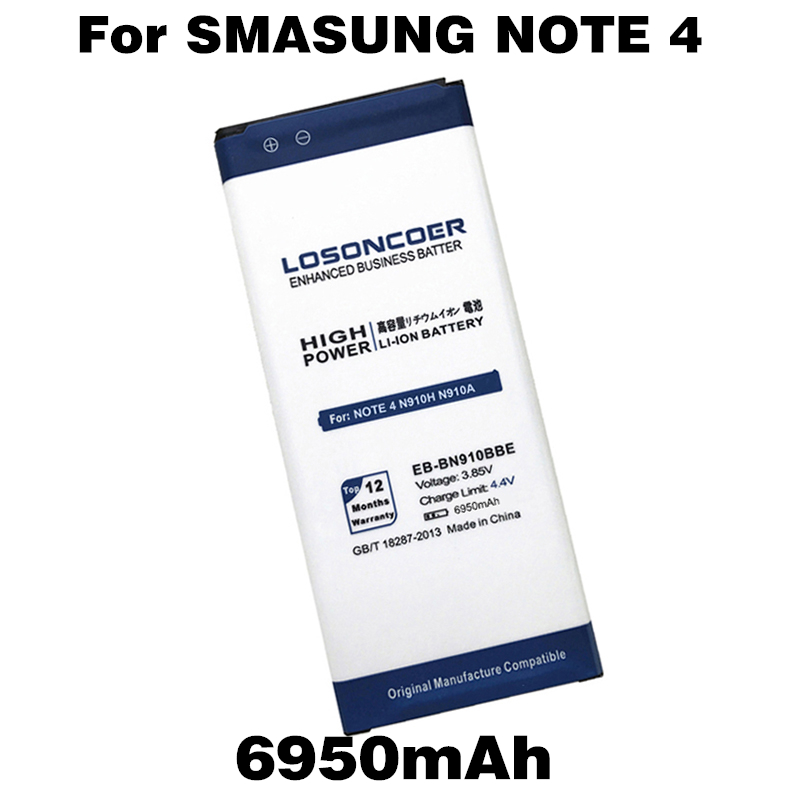 LOSONCOER Eb-Bn910bbe-Battery Note N910R Samsung For 4-battery/N910h/N910a/.. 6950mah