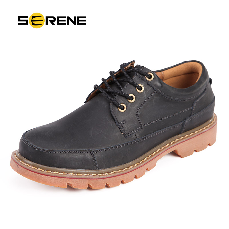SERENE Brand Mens Tooling Shoes Retro Casual Leather Shoes Lace Up Botas Shoes Ankle Boots Mens
