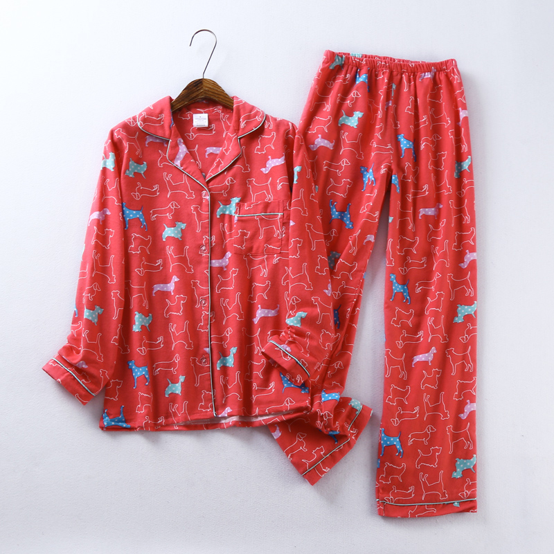 Sexy red dog cute 100% brushed cotton pajama sets women winter soft sleepwear women homewear Christmas pijamas mujer