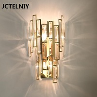 Golden carved crystal wall lamp bedside lamp living room decoration wall lamp stainless steel LED lamp