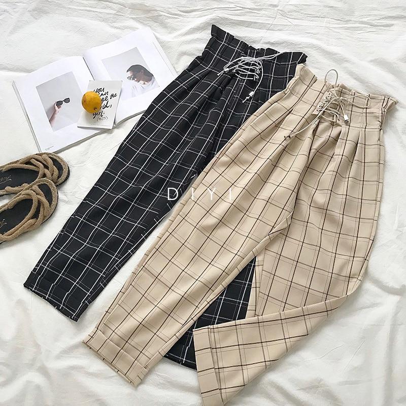 CamKemsey Japanese Harajuku Casual Pants Women 2019 Fashion Lace Up High Waist Ankle Length Loose Plaid Harem Pants 19