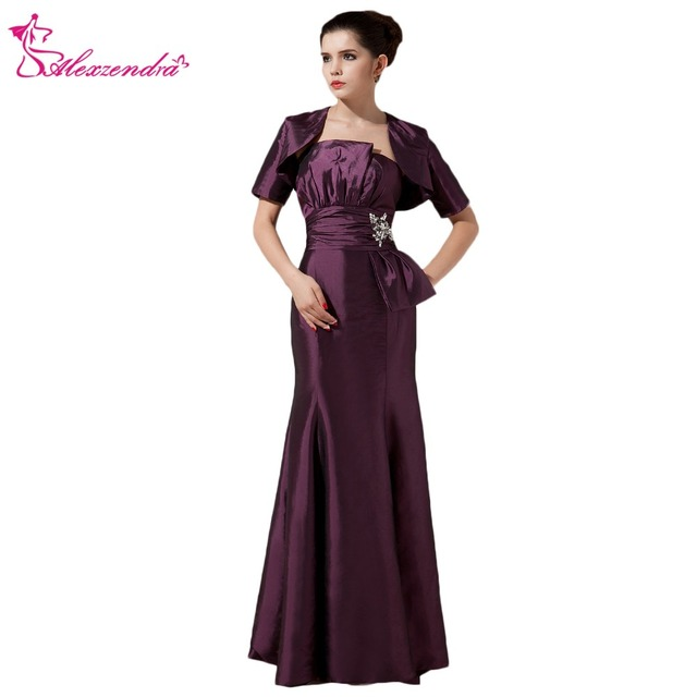 Alexzendra Purple Satin Straight Mother Of Bride Dress With Jacket