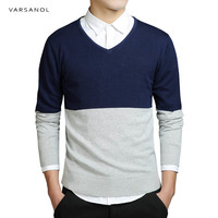 Varsanol Brand Mens Sweater Cutton Striped Long Sleeve Sweaters Clothing Fit Knitting V Neck Casual Slim