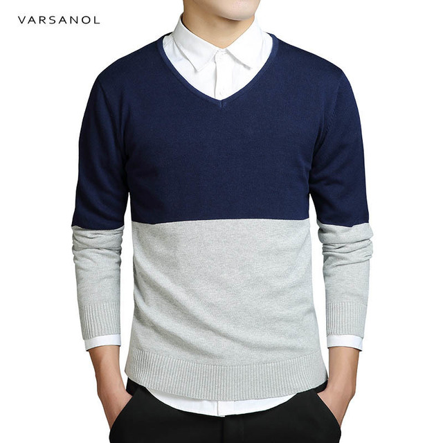 Men's Sweater Cotton Striped Long Sleeve Sweaters Clothing Fit Knitting V-Neck Casual Slim Pullovers Men Top M-XXXL