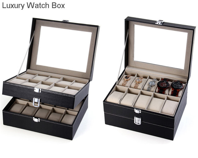 Luxury PU Leather 20 Grids Watch Display Case Box Jewelry Storage