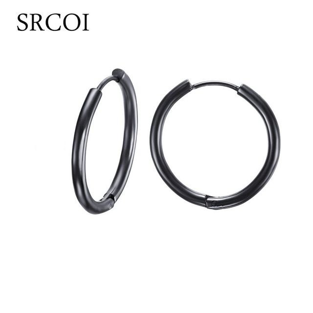 Srcoi Punk Black Stainless Steel Hoop Earrings Woman Gold Nickel Free Hoops Round Circle