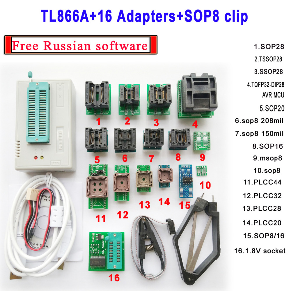 TL866A programmer 16adapters font b IC b font Clip clamp High speed TL866 AVR PIC Bios