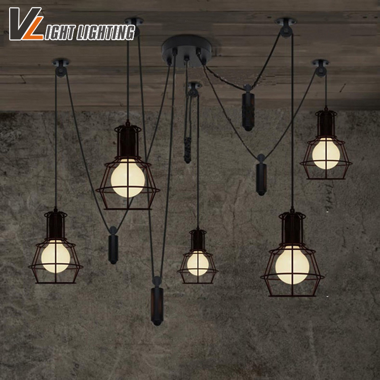 Vintage industrial Nordic Loft Edison Bulb Chandelier Retro Ceiling Spider Pendants Antique Adjustable E27 indoor Art Lights hemp rope chandelier antique classic adjustable diy ceiling spider lamp light retro edison bulb pedant lamp for home