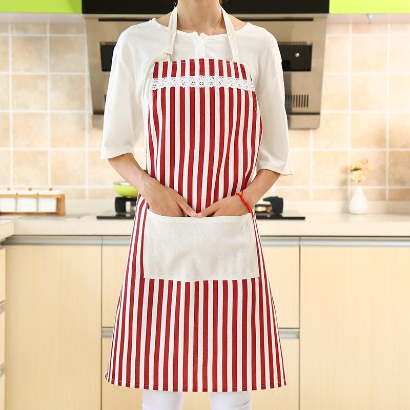 1Pcs Striscia Griglia Cotton Apron Waterproof Lovely Printed Kitchen Cooking Home Outdoor Barbecue Accessorie Kitchen 77cmx62cm