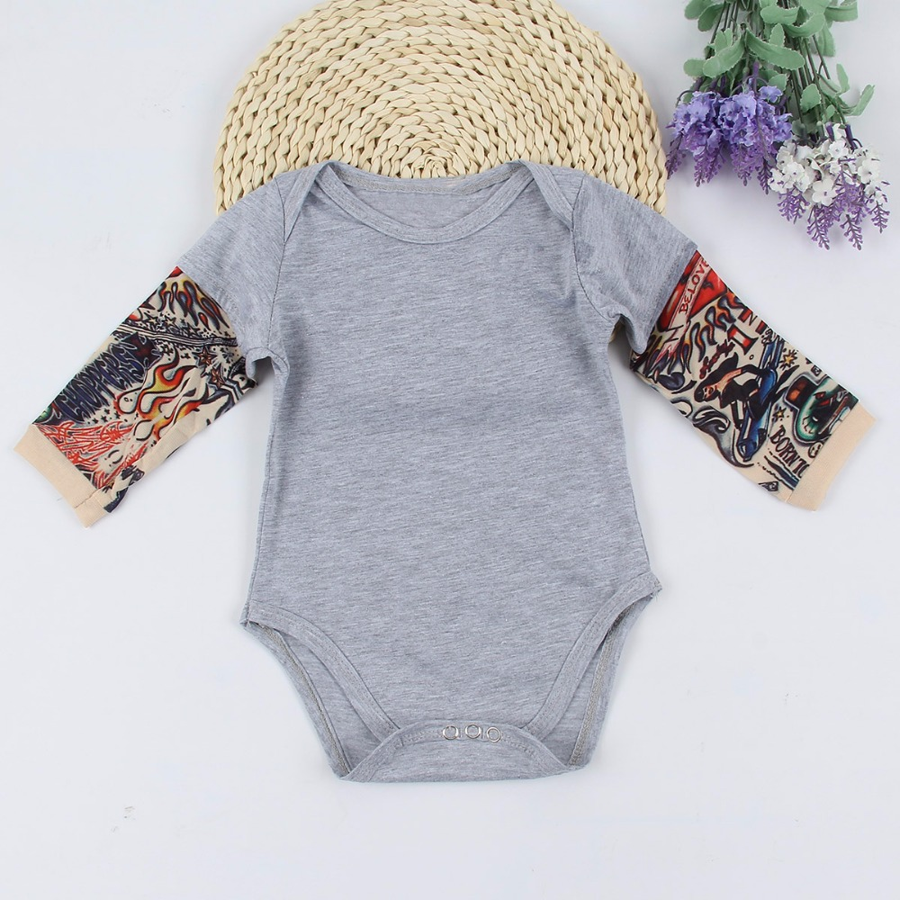 Puseky Fashion Baby Rompers Tattoo Sleeves Rock Baby Boy Romper Infant Girls Jumpsuit Long Sleeves Baby Clothes Roupas De Bebe