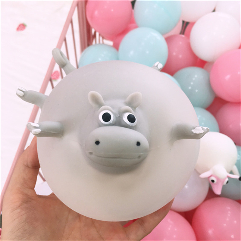 11 Styles Funny Squishy TPR Blowing Animal Squeeze Anti-stress Soft Rubber Inflatable Games Ball Toys For Children Kids G
