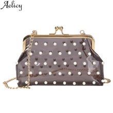 Aelicy Women's Shoulder Bags Fashion Transparent Pearl Messenger Bag Beach Bag 2019 New Design Multifunctional Bags Women(China)