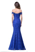 Under $50 Elegant Crystal Beaded Red Royal Blue Lace Mermaid Long Evening Dresses 2017 Prom Party Dress Robe De Soiree Longue