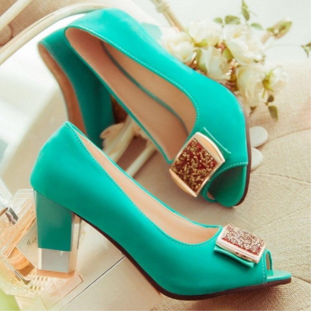 ksjywq peep toe mint green high square heel platform pumps. Black Bedroom Furniture Sets. Home Design Ideas