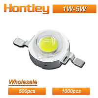 Hontiey Wholesale 500pcs 1000pcs High Power LED Chip Watt 1W 3W 5W White Blue Green Yellow