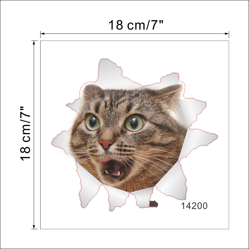 Cats Dog 3D Wall Sticker Bathroom Toilet Living Room Kitchen Decoration Animal Vinyl Art Sticker Poster 25
