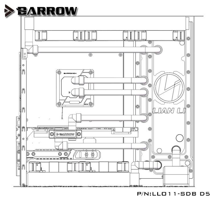 Купить с кэшбэком Barrow Acrylic Board as Water Channel use for LIAN LI O11 Dynamic Computer Case / Screw Fix/Instead Reservoir/5V 3PIN RGB Light