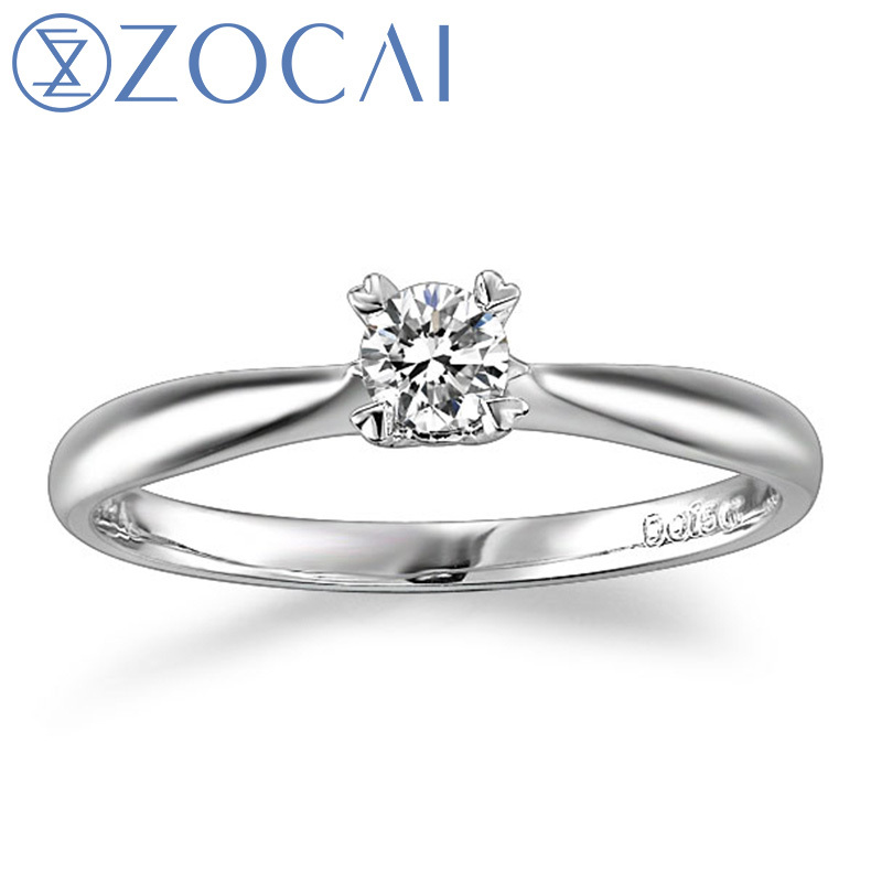 цена на ZOCAI BRAND NATURAL REAL 0.15 CT CERTIFIED H/SI DIAMOND ENGAGEMENT RING ROUND CUT 18K WHITE GOLD JEWELRY JEWELLERY