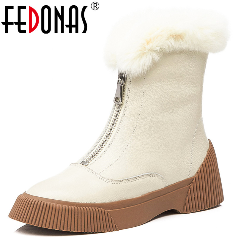 Fedonas 새로운 도착한 여성 암소 가죽 발목 부츠 지퍼 따뜻한 겨울 스노우 부츠 플랫폼 캐주얼 신발 여성 기본 부츠-에서앵클 부츠부터 신발 의  그룹 1