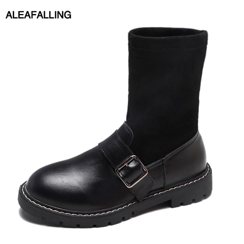 Para Maduras Plataforma Cuero Zapatos Sólidas Señora Mujer Nieve UzH7Uq