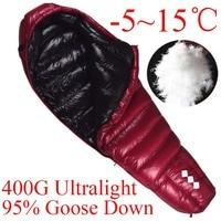 400 г Wnnideo 95% гусиный пух Мумия спальный мешок Сверхлегкий для наружной кемпинга/путешествия 5 ~ 15 Цельсия