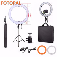Fotopal ES240 18 Adjustable Dimmable LED Photo/Video/Studio/phone Light LED Camera Macro Ring Light Annular Lamp With tripods
