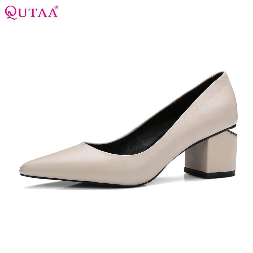 QUTAA 2017 Women Pumps Square Med Heel Genuine Leather Pointed Toe Slip On Fashion Elegant Ladies Wedding Shoes Size 34 39