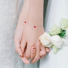 Hot Sale Silver Bracelet for Women with Enamel Heart Charm Bracelets