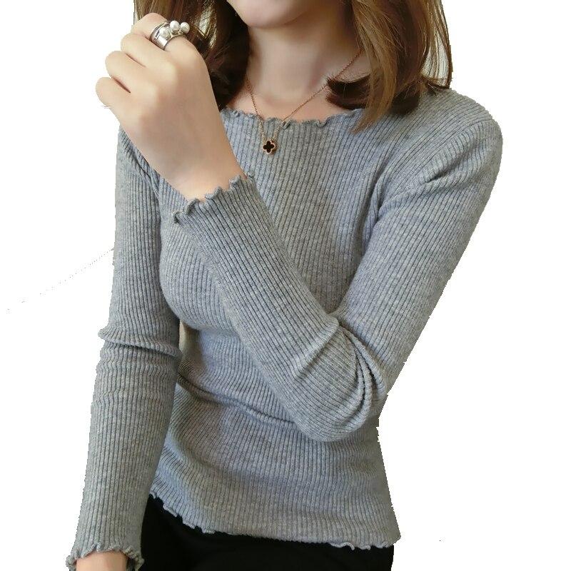 Nuevo invierno suéter de cuello femenino de Corea del oído de madera en una cami