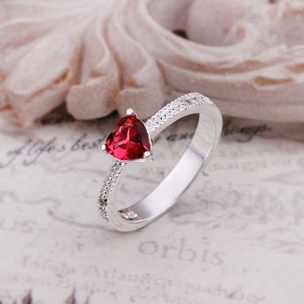 Hot Sell!NEW Fashion silver plated ring,silver plated fashion Jewelry bague femme ring, Red Zircon Love Inlaid red Stone R252-8