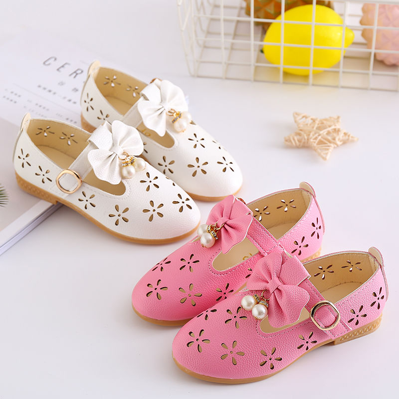 1 2 3 4 5 6 7 8 9 10 11 12 Years Flower Little Girl Summer Hollow Sandals Shoes For Girls Beading Princess Party Leather Shoes|Sandals| |  - title=