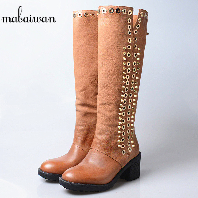 Mabaiwan Fashion Women The Knee High Boots Metal Decoration Rivet High Heel Shoes Women Pumps Comfortable Winter Snow Long BootsMabaiwan Fashion Women The Knee High Boots Metal Decoration Rivet High Heel Shoes Women Pumps Comfortable Winter Snow Long Boots