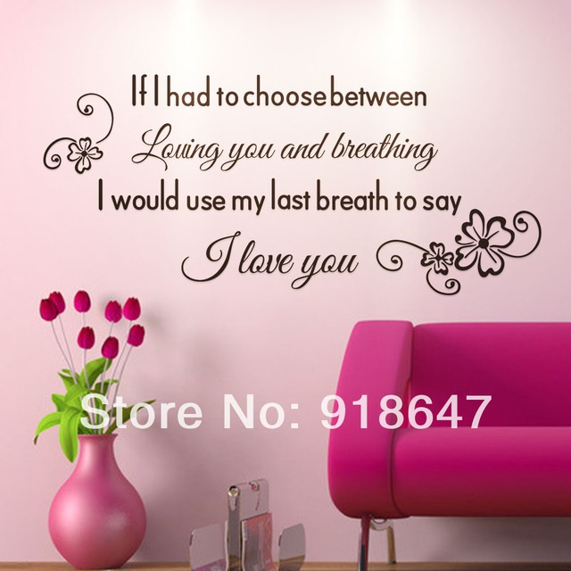 Sia Wholesale New High Quality English Love Quotes Wall Stickers I